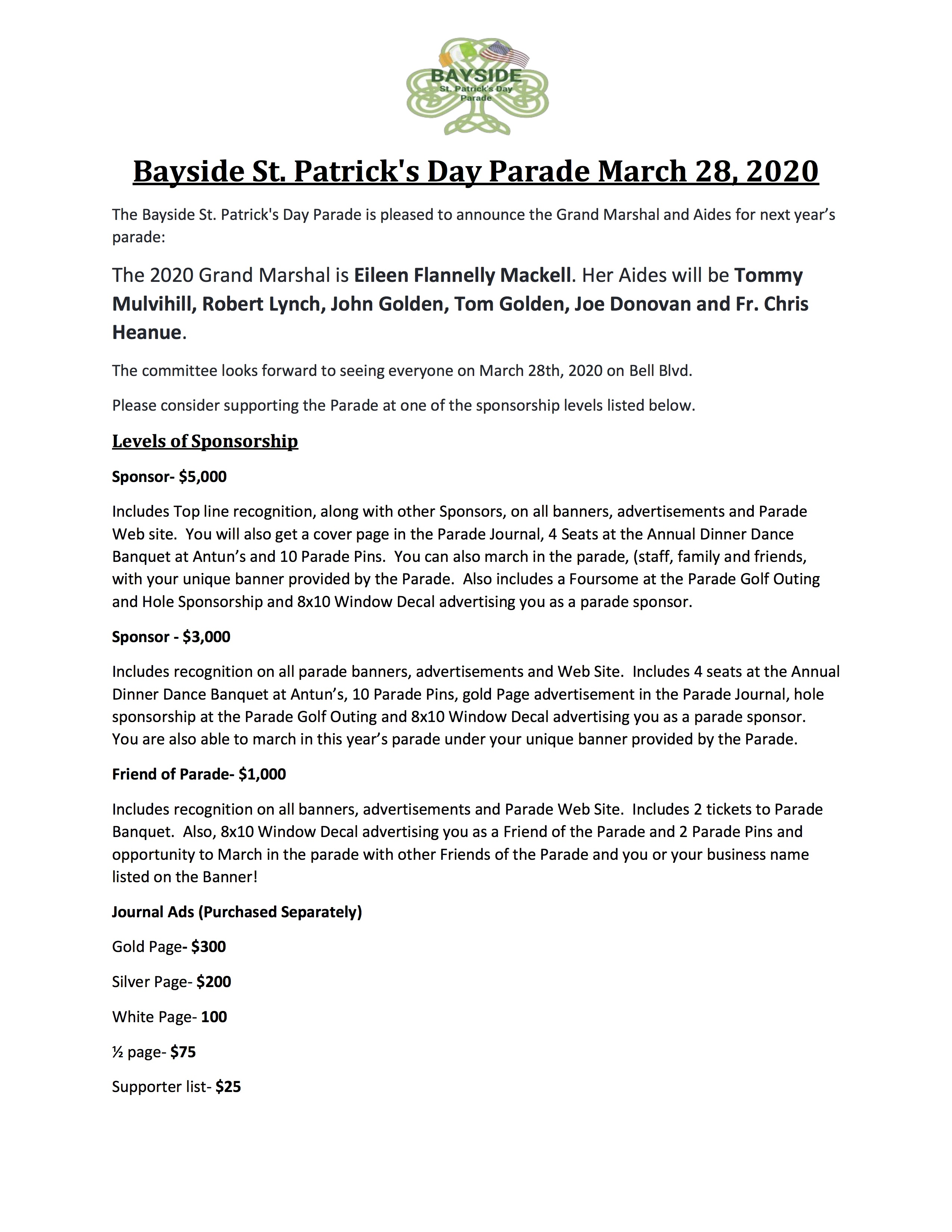 2020 Bayside Parade levels of sponsorship